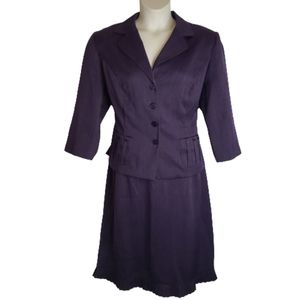 Sweet Suit 16W Purple Pleated Skirt Suit Plus